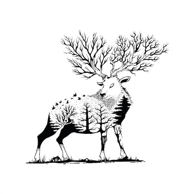 Vector illustratie van een hert met bos achtergrond Premium Vector