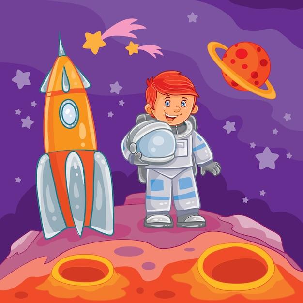 Vector illustratie van een kleine jongen astronaut Gratis Vector