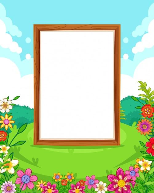 Vector illustratie van een prachtig park met bloemen en houten leeg bord Premium Vector