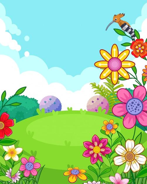 Vector illustratie van een prachtig park met bloemen Premium Vector