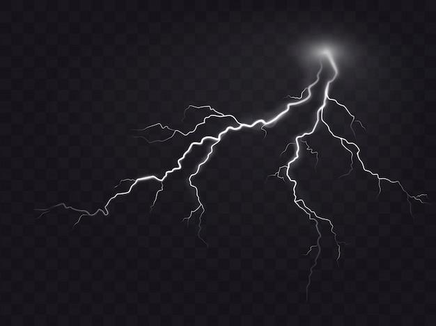 Vector illustratie van een realistische stijl van heldere gloeiende bliksem geïsoleerd op een donker, natuurlijk licht effect. Gratis Vector