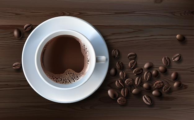 Vector illustratie van een realistische stijl van witte koffiekopje met een schotel en koffiebonen, bovenaanzicht Gratis Vector