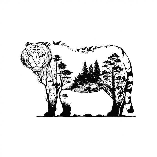 Vector illustratie van een tijger met bos achtergrond Premium Vector