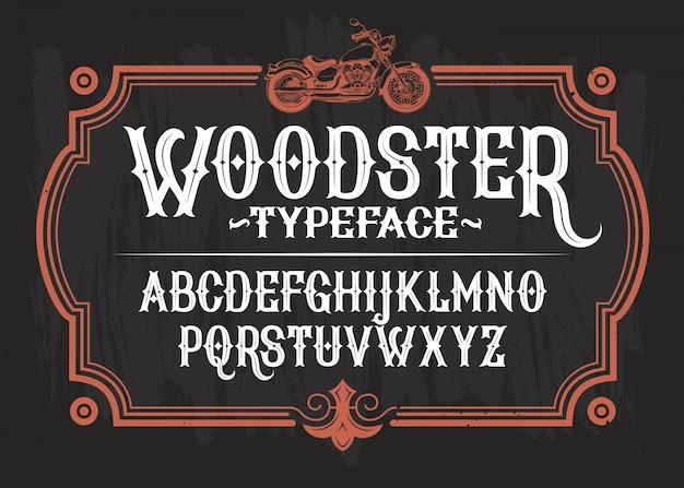Vector illustratie van een vintage lettertype, het latijnse alfabet in een retro frame met een aangepaste motorfiets. Gratis Vector
