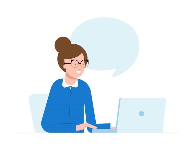Vector illustratie van een vrouw achter de computer zitten en werken aan een project, zoeken, chatten. Premium Vector