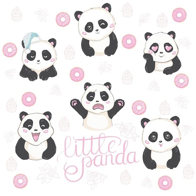 Vector illustratie van emoji panda. Premium Vector