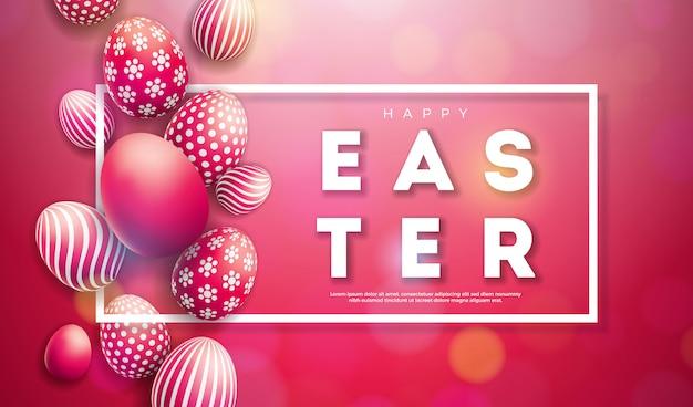 Vector illustratie van happy easter holiday met beschilderde eieren Premium Vector