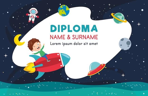 Vector illustratie van het diploma Premium Vector