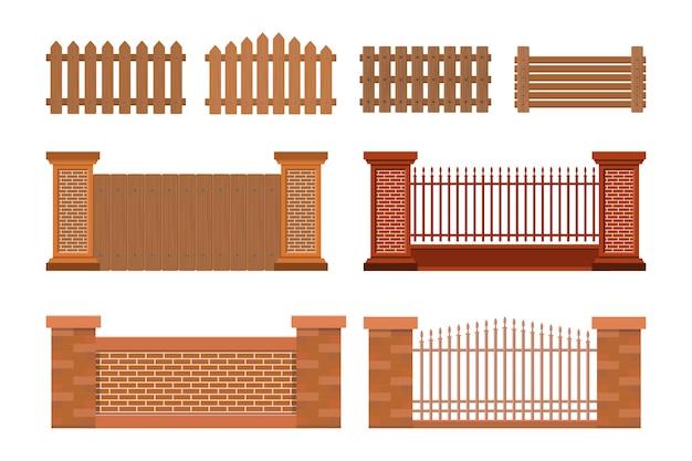 Vector illustratie van huisomheining Premium Vector
