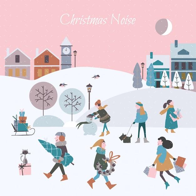 Vector illustratie van kerstmislawaai in de stad. kerst mensen Premium Vector