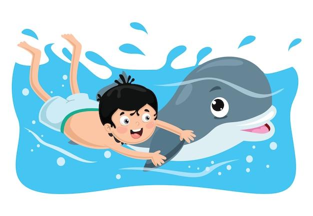 Vector illustratie van kid zwemmen met dolfijn Premium Vector
