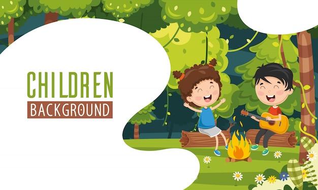 Vector illustratie van kinderen achtergrond Premium Vector