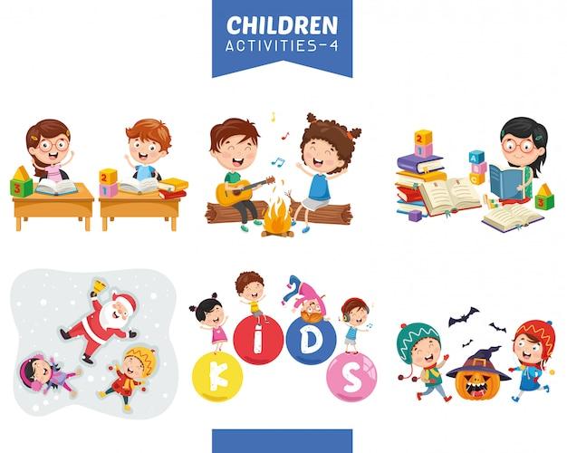 Vector illustratie van kinderen activiteiten set Premium Vector