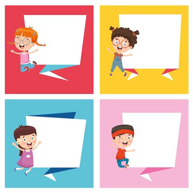 Vector illustratie van kinderen banner Premium Vector