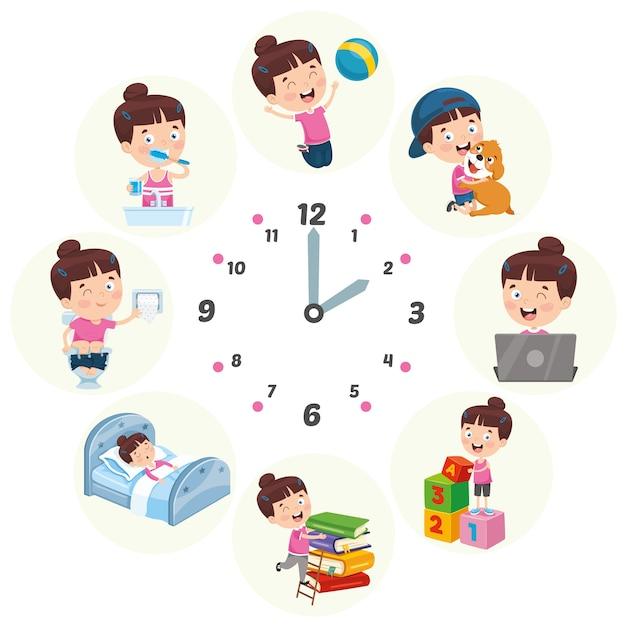 Vector illustratie van kinderen dagelijkse routine-activiteiten Premium Vector