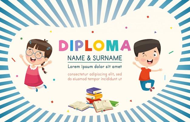Vector illustratie van kinderen diploma Premium Vector
