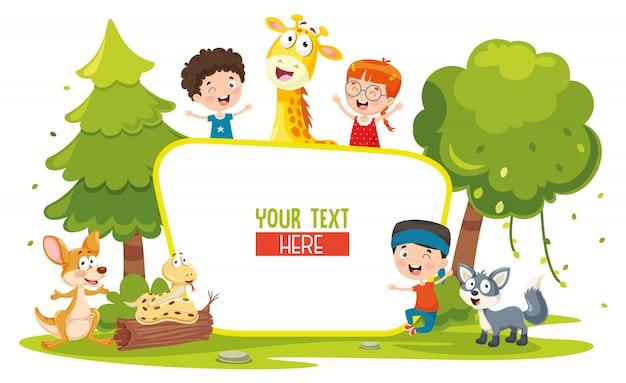 Vector illustratie van kinderen en dieren Premium Vector