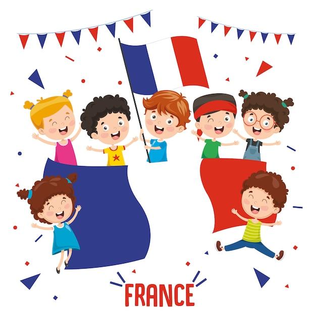 Vector illustratie van kinderen houden van de vlag van frankrijk Premium Vector