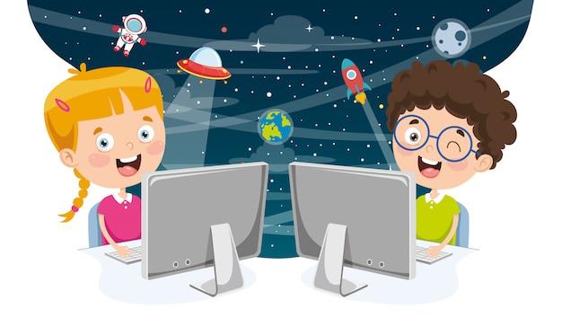 Vector illustratie van kinderen met behulp van de computer Premium Vector