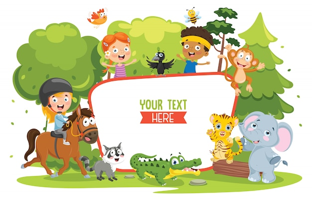 Vector illustratie van kinderen natuur concept Premium Vector