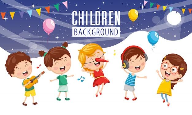 Vector illustratie van kinderen partij achtergrond Premium Vector