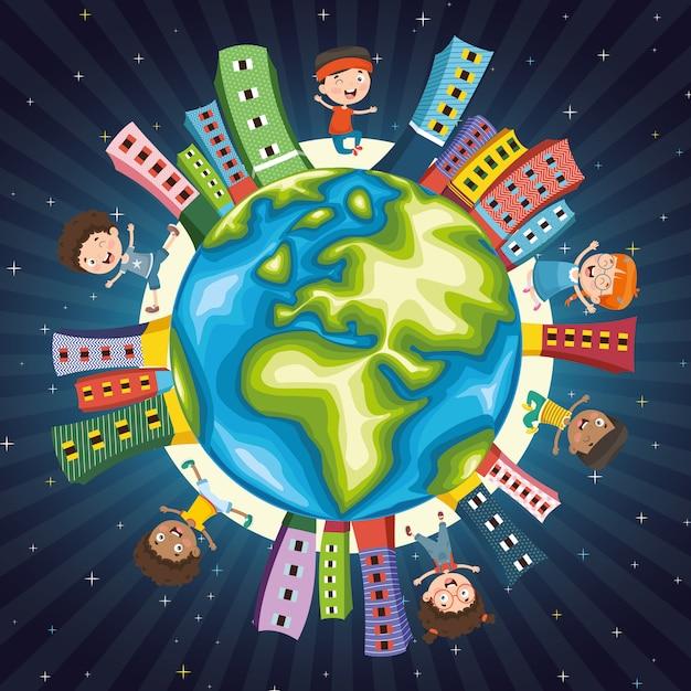 Vector illustratie van kinderen spelen rond de wereld Premium Vector