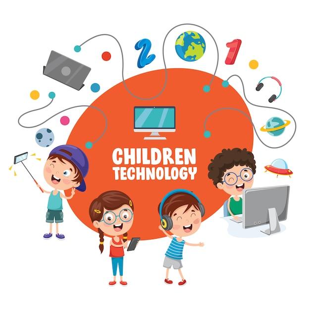 Vector illustratie van kinderen technologie Premium Vector