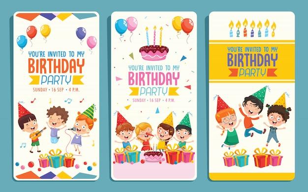 Vector illustratie van kinderen verjaardagsfeestje uitnodiging kaart ontwerp Premium Vector