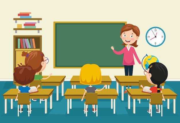 Vector illustratie van klaslokaal Premium Vector
