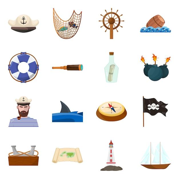 Vector illustratie van marine en avonturensymbool. set van zee- en oceaan set Premium Vector