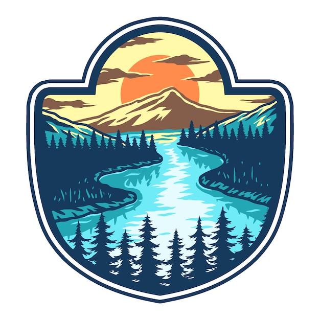 Vector illustratie van meer, berg en zonsondergang Premium Vector