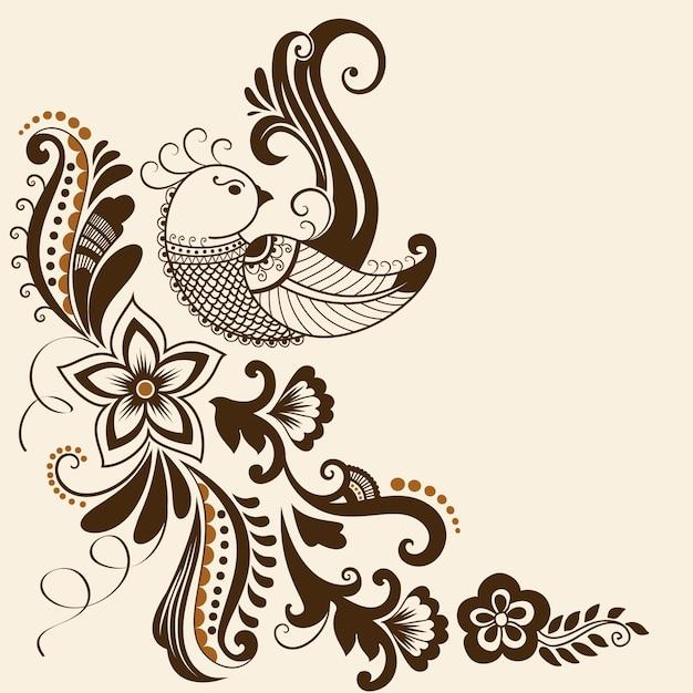Vector illustratie van mehndi ornament. traditionele indiase stijl, sier bloemen elementen voor henna tattoo, stickers, mehndi en yoga ontwerp, kaarten en prints. abstracte bloemen vector illustratie. Gratis Vector