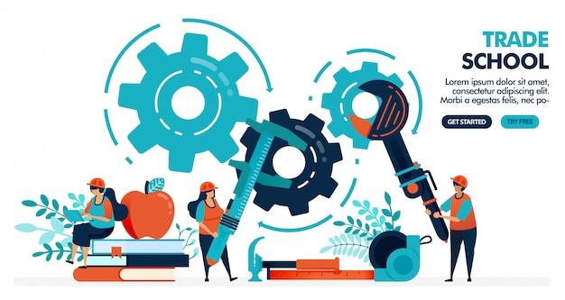 Vector illustratie van mensen die machines leren te repareren. vakschool of beroepsonderwijs. universiteit of hogeschool instelling. beroepsonderwijs. Premium Vector