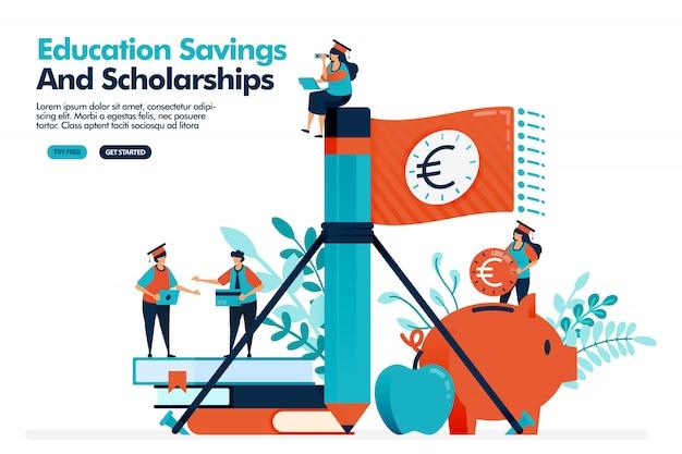 Vector illustratie van mensen golf geld vlag met potlood. geld besparen in een spaarvarken voor educatieve uitgaven. educatieve beurs. Premium Vector