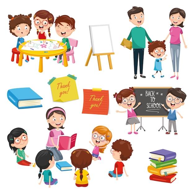 Vector illustratie van onderwijs elementen Premium Vector