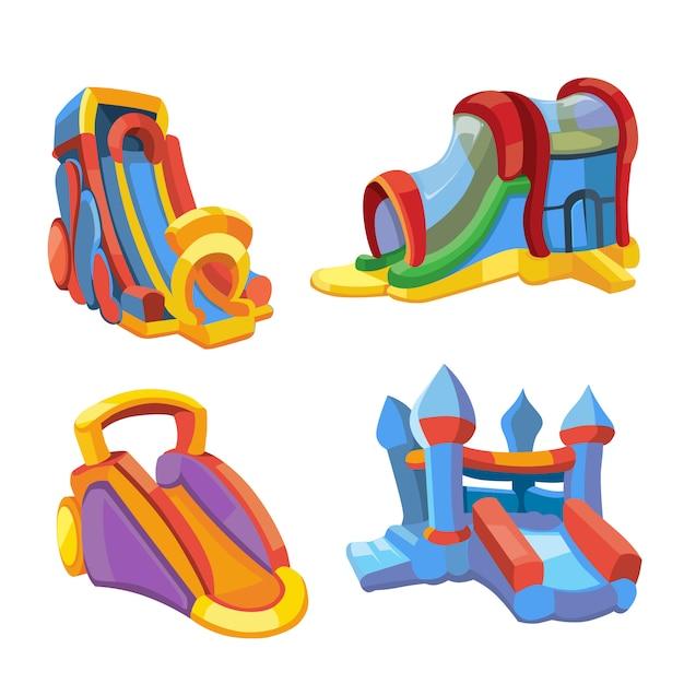 Vector illustratie van opblaasbare kastelen en kinderen heuvels op speelplaats Premium Vector