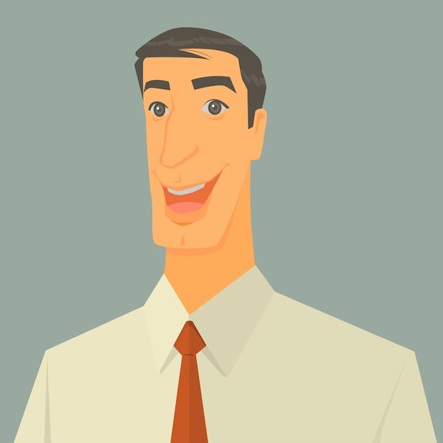 Vector illustratie van opgewonden zakenman Premium Vector