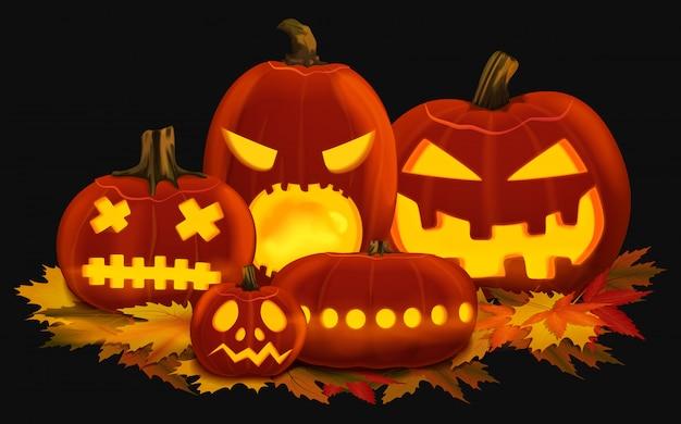Vector illustratie van oranje gloeiende pompoenlantaarns voor halloween met gesneden gezichten die op de herfstbladeren worden geplaatst. Premium Vector