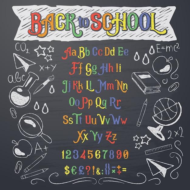 Vector illustratie van retro lettertype, hoofdletters, cijfers en symbolen in wit en kleurkrijt Gratis Vector