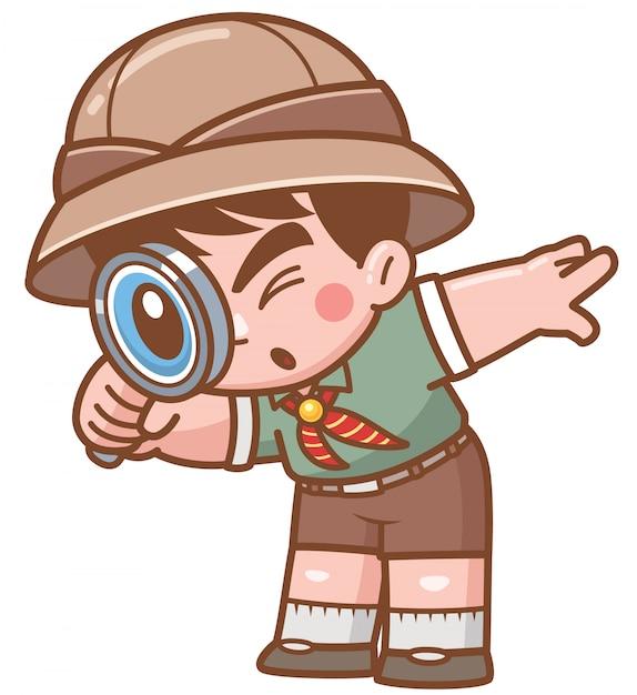 Vector illustratie van safari boy met vergrootglas Premium Vector
