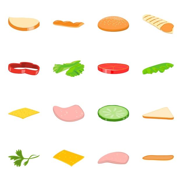 Vector illustratie van sandwich en voedselpictogram. set van sandwich en hamburger set Premium Vector