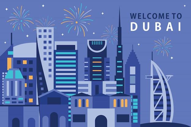 Vector illustratie van stad in doubai Premium Vector