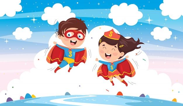 Vector illustratie van superhelden Premium Vector