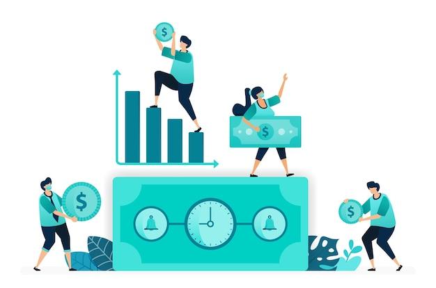 Vector illustratie van tijd is geld met klok. bel op dollarbiljet. toenemende grafiek, werktijd, inkomen. vrouwelijke en mannelijke arbeiders. ontworpen voor website, web, bestemmingspagina, apps, ui ux, poster, flyer Premium Vector