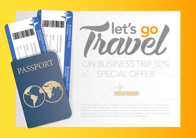 Vector illustratie van wereld toerisme dag poster banner met tijd om te reizen banner met paspoort en tickets, zakelijke vliegreis. Premium Vector