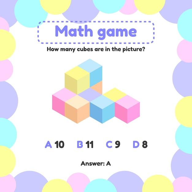Vector illustratie wiskundig logisch spel voor kleuters en schoolgaande kinderen. hoeveel kubussen op de foto Premium Vector
