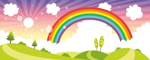 Vector ilustration van kleurrijke natuur scène Premium Vector