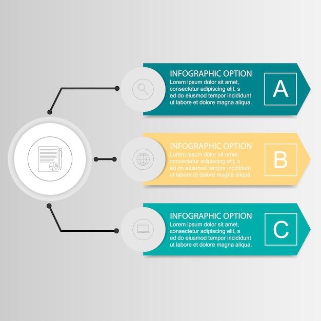Vector infographic drie opties Premium Vector