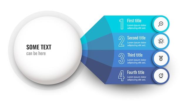 Vector infographic ontwerpsjabloon met pictogrammen en 4 opties of stappen Premium Vector