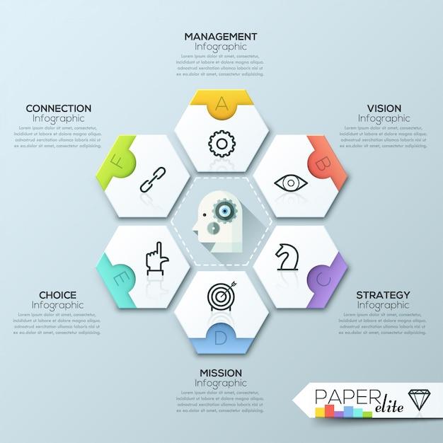 Vector infographic rapportsjabloon gemaakt van lijnen en pictogrammen Premium Vector
